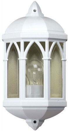 White Aluminium Flush Outdoor Porch Wall Light