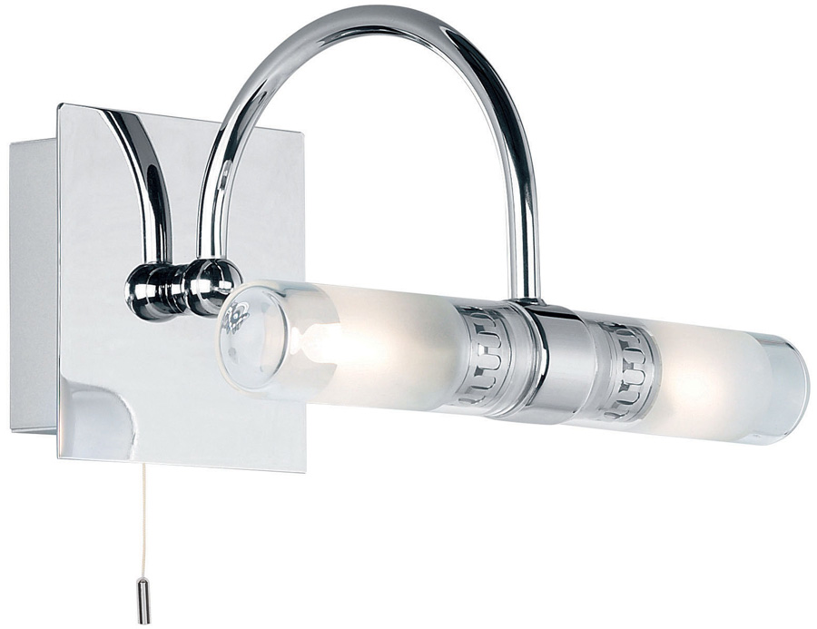 Shore polished chrome pull switch 2 lamp bathroom over mirror light Polished chrome bathroom mirrors