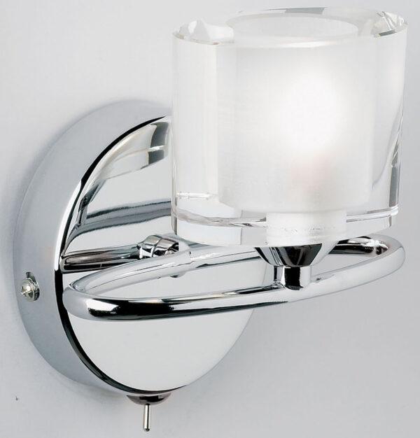 Sonata Modern 1 Light Switched Wall Light Chrome Crystal Shade