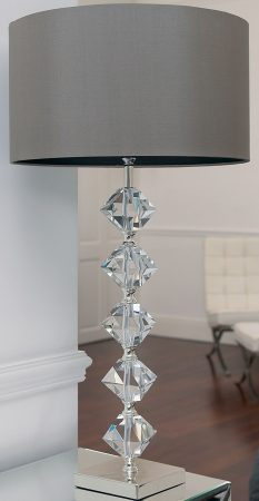 Verdone Crystal Table Lamp With Mink Shade