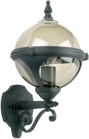 Chatsworth Matt Black Smoked Globe IP44 Outdoor Wall Lantern