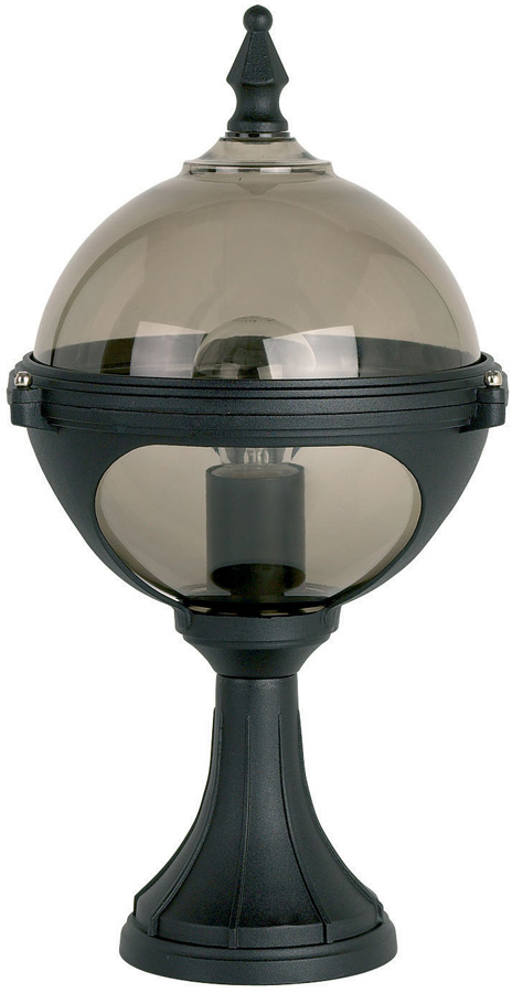Chatsworth Matt Black Smoked Globe Outdoor Post Top Lantern
