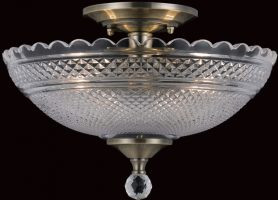 Antique Brass Art Deco Flush Mount 2 Light Ceiling Lamp