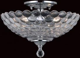 Chrome Art Deco Flush Mount 2 Light Ceiling Lamp