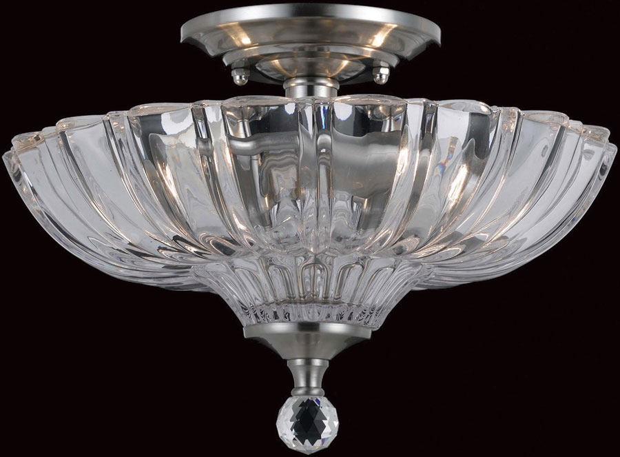 Dallas Chrome Cut Glass Flush Mount 2 Light Ceiling Lamp ...