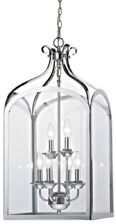 Dar Senator Traditional 6 Light Hanging Lantern Chrome