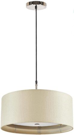 Elstead Sienna Polished Nickel 3 Light 46cm Cream Drum Pendant