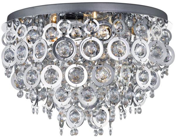 Nova Polished Chrome Rings 5 Light Flush Mount Ceiling Light