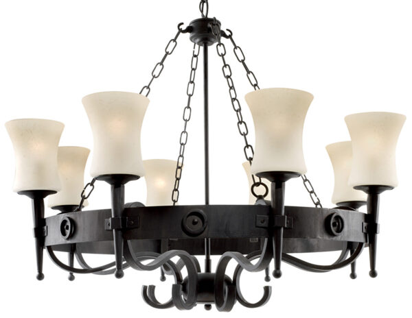 Gothic Cartwheel Wrought Iron 8 Lamp Ceiling Light