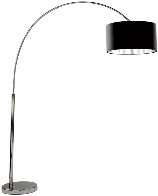 Arc Floor Lamp In Chrome With Silver Lined Black Shade