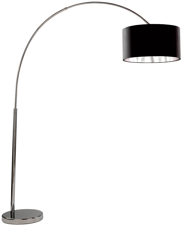 Arc Floor Lamp In Chrome With Silver Lined Black Shade 1013CC