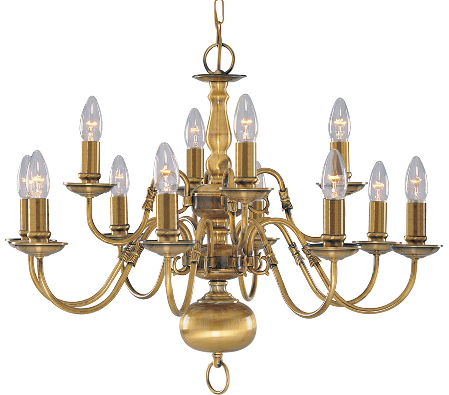 Solid Antique Brass Flemish 12 Light Chandelier - Solid Antique Brass Flemish 12 Light Chandelier 1019-12AB
