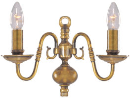 Solid Antique Brass Flemish 2 Lamp Wall Light