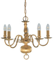 Solid Antique Brass Flemish 5 Light Chandelier