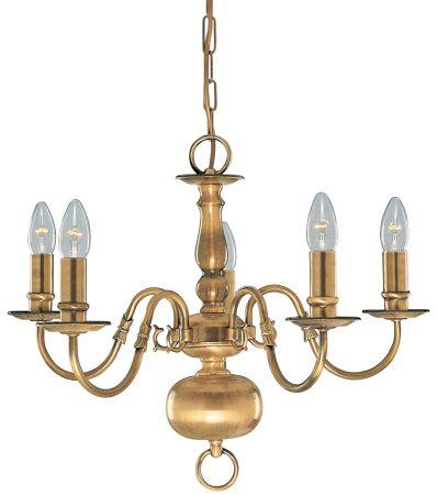 Solid Antique Brass Flemish 5 Light Chandelier