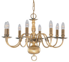 Solid Antique Brass Flemish 8 Light Chandelier