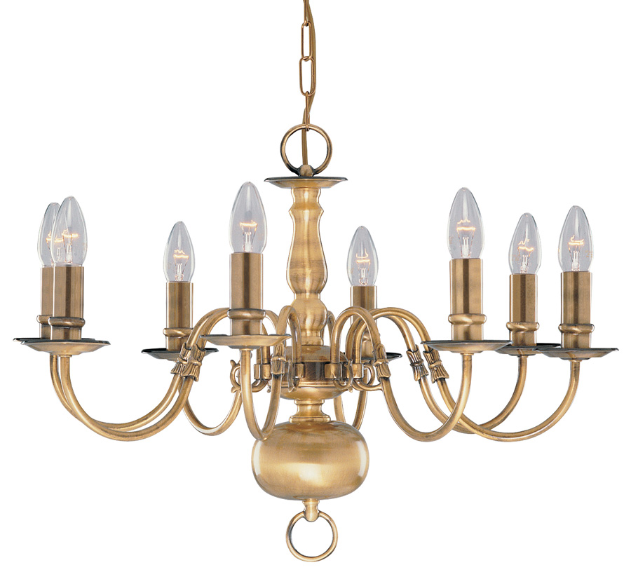 Solid Antique Brass Flemish 8 Light Chandelier 1019 8ab