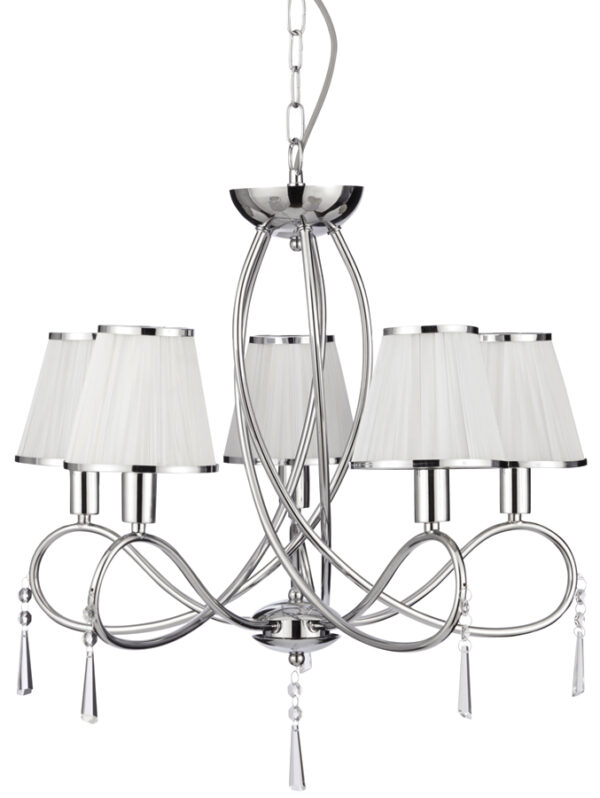 Simplicity Polished Chrome 5 Light Chandelier Glass Drops White Shades
