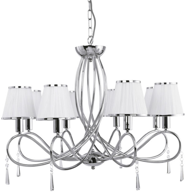 Simplicity Polished Chrome 8 Light Chandelier Glass Drops White Shades