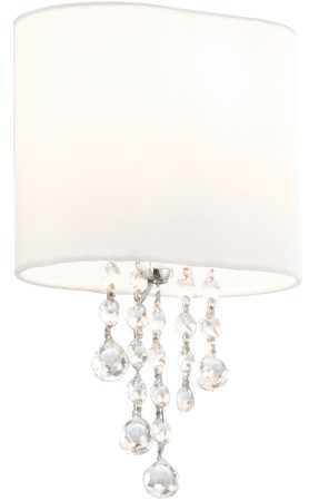 Nina Chrome Switched Wall Light White Shade