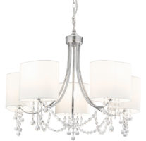 Nina Chrome Finish 5 Light Chandelier White Shades