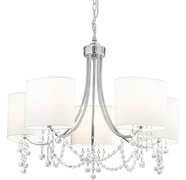 Nina Polished Chrome 5 Light Chandelier White Shades Crystal