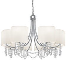 Nina Chrome Finish 8 Light Chandelier White Shades