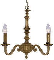 Malaga Solid Antique Brass 3 Lamp Ceiling Light