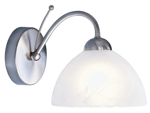 Milanese Satin Silver Single Wall Light Alabaster Glass