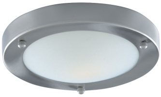 Satin Chrome Flush Bathroom Ceiling Light Marble Glass Shade IP44