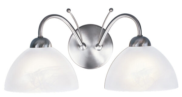 Milanese Satin Silver Twin Wall Light Alabaster Glass