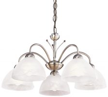Milanese 5 Light Ceiling Light Antique Brass Alabaster Glass