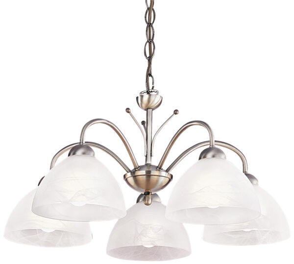 Milanese Antique Brass 5 Lamp Traditional Light Fitting