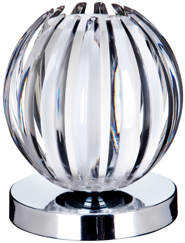 Clear Acrylic Ball And Chrome Touch Dimmer Table Lamp