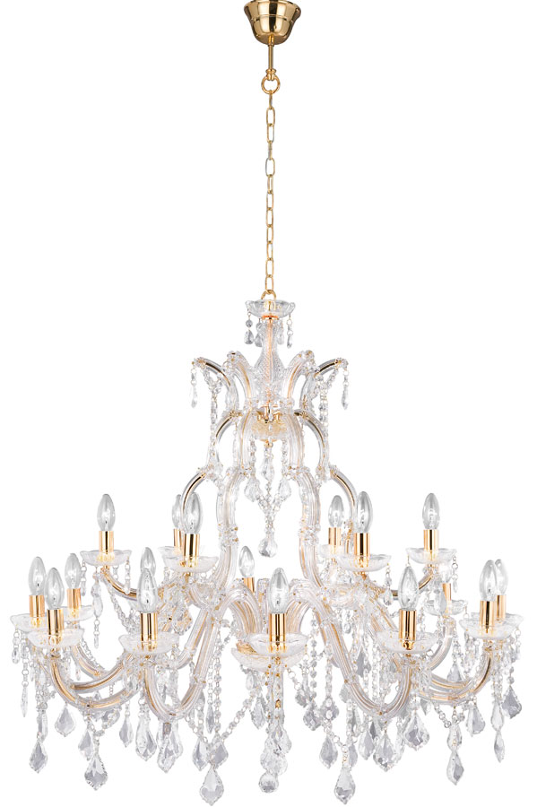 Large Marie Therese Brass 18 Light Crystal Chandelier