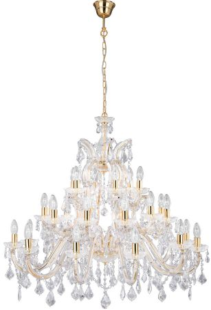 Large Marie Therese Brass 30 Light Crystal Chandelier