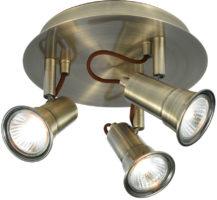 Eros Modern Antique Brass 3 Spot Light Ceiling Plate