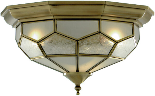 Traditional Antique Brass Flush Fitting Ceiling Light