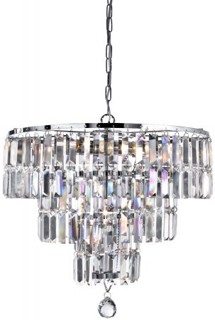 Empire Modern 3 Tier 5 Light Crystal & Polished Chrome Chandelier
