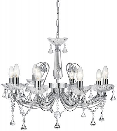 Traditional Chrome And Crystal 8 Light Chandelier