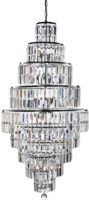 Empire Chrome 13 Light Tiered Art Deco Style Crystal Chandelier