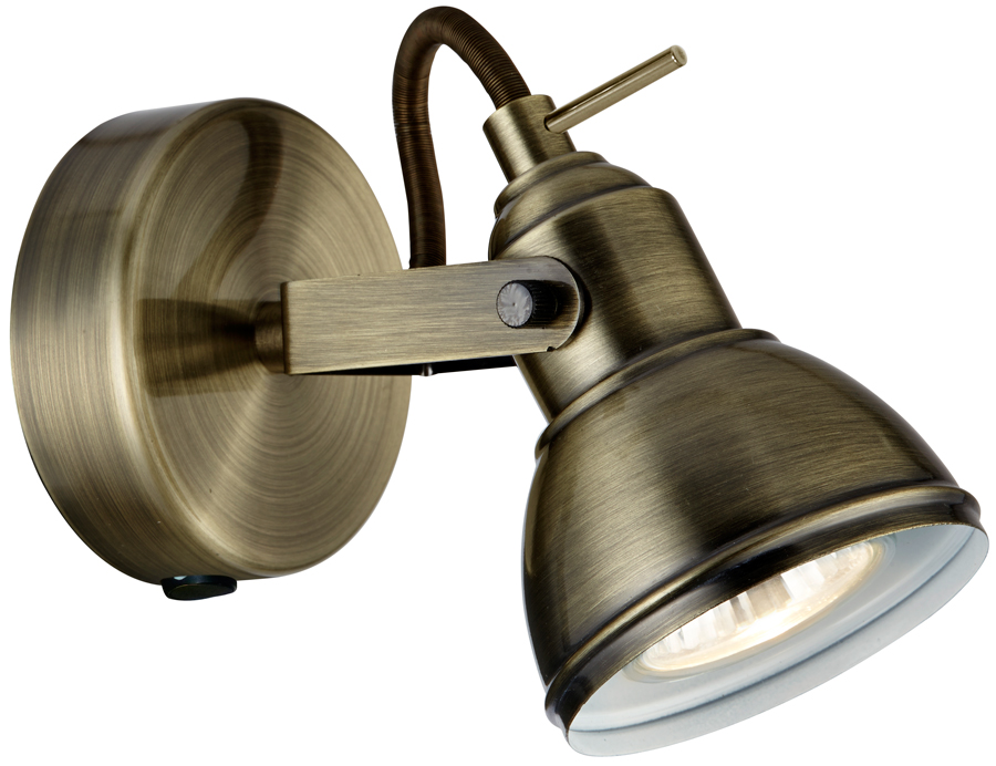 Focus antique brass finish switched single wall spot light 1541ab focus antique brass finish switched single wall spot light mozeypictures Choice Image