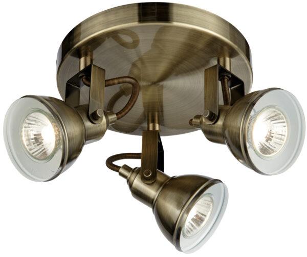 Focus Antique Brass Finish 3 Light Circular Ceiling Spot Light Plate