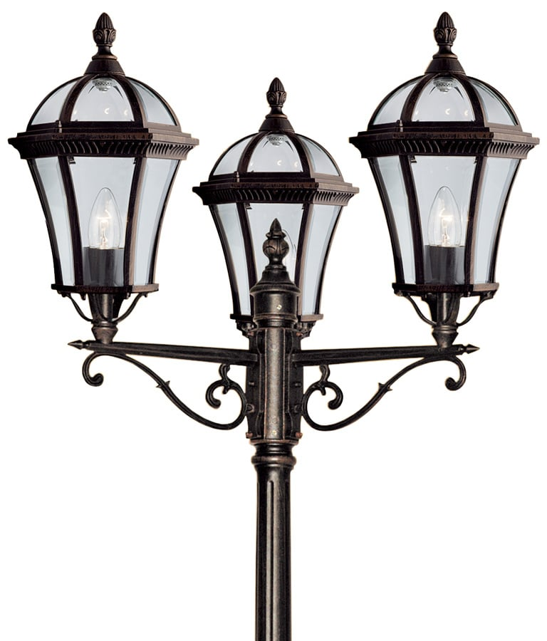 capri traditional rustic brown 3 head lamp post 1569 3. Black Bedroom Furniture Sets. Home Design Ideas