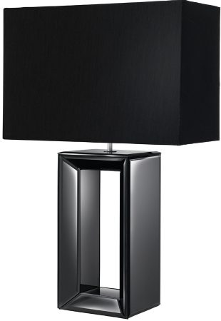 Black Mirror Glass Table Lamp With Matching Shade