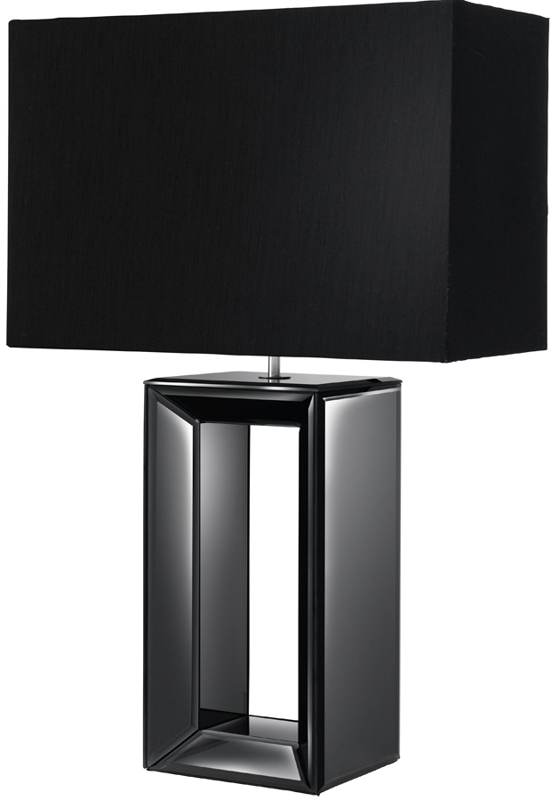 Black Mirror Glass Table Lamp With Matching Shade 1610bk