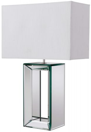 Clear Mirror Glass Table Lamp With White Shade
