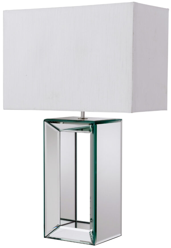 Reflection Clear Mirror Glass Table Lamp With White Faux Silk Shade