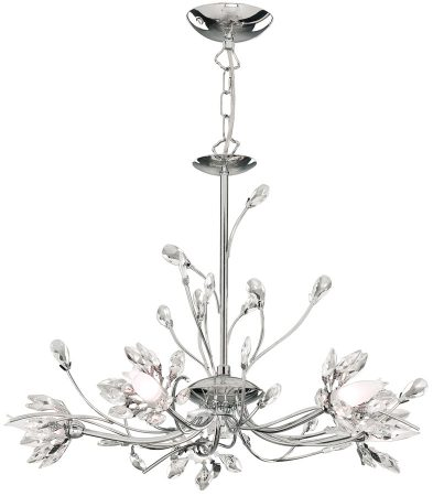 Hibiscus Modern Chrome 5 Lamp Floral Chandelier