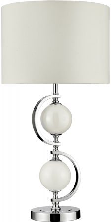 Chrome And White Glass Ball Table Lamp With Shade
